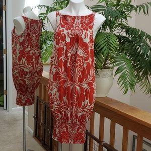 DIANE VON FURSTENBERG Red Tan Silk FERSEN Dress 10